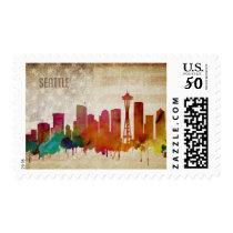 Seattle, WA| Watercolor City Skyline Postage