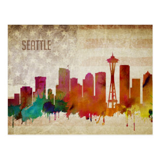 Seattle, WA | Watercolor City Skyline Postcard