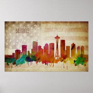 Seattle, WA | Watercolor City Skyline Poster