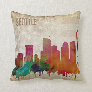 Seattle, WA | Watercolor City Skyline Throw Pillow