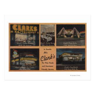 Seattle, WAAD for Clark's Restaurants Postcard