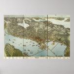 Seattle Washington 1891 Antique Panoramic Map Posters