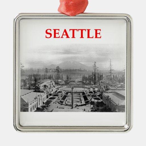 Seattle Washington Adorno Navideño Cuadrado De Metal