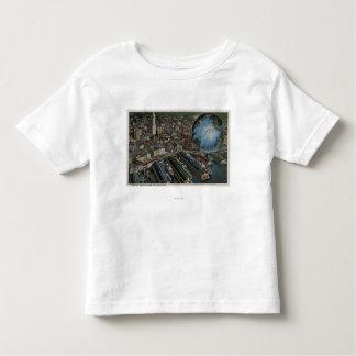 Seattle, Washington - Aerial of Seattle Toddler T-shirt