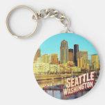 Seattle Washington Basic Round Button Keychain