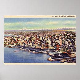 Seattle, Washington Birdseye 1940 Poster