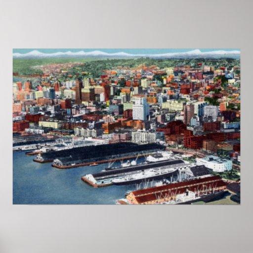 Seattle Washington Birdseye View Print