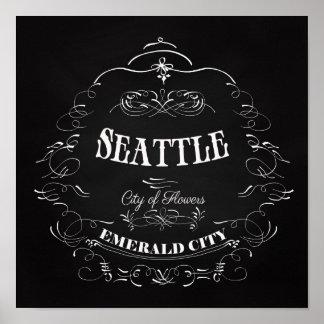 Seattle Washington - City of Flowers Poster