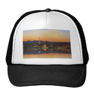 Seattle Washington Cityscape at Sunrise Apparel Trucker Hat