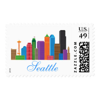 Seattle Washington Downtown City Skyline in Colors Stamps