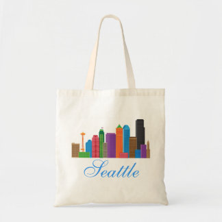 Seattle Washington Downtown City Skyline in Colors Tote Bag