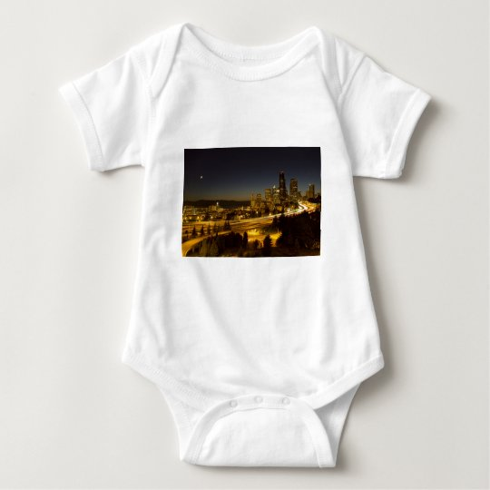 Seattle Washington Downtown Skyline at Sunset Baby Bodysuit