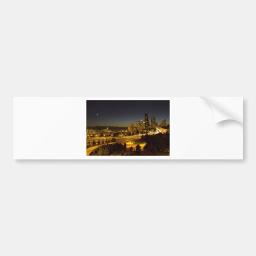 Seattle Washington Downtown Skyline at Sunset Bumper Stickers