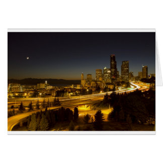 Seattle Washington Downtown Skyline at Sunset Greeting Card