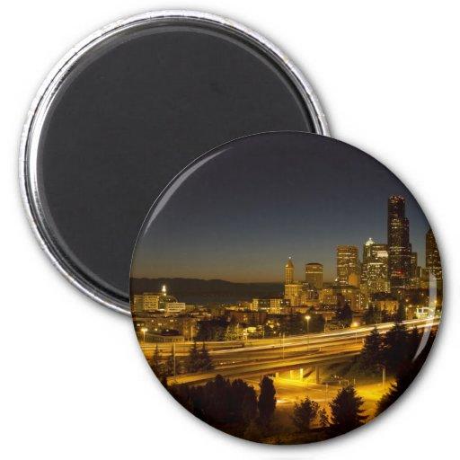 Seattle Washington Downtown Skyline at Sunset Fridge Magnets