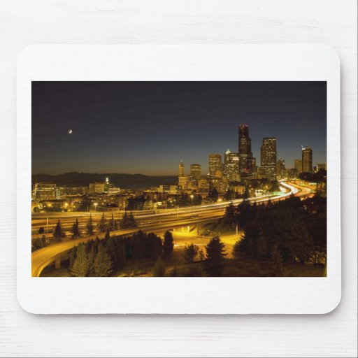 Seattle Washington Downtown Skyline at Sunset Mouse Pads