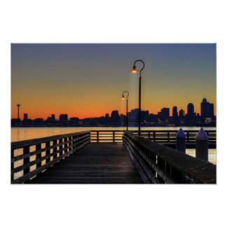 Seattle Washington Downtown Skyline Poster