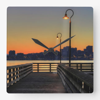 Seattle Washington Downtown Skyline Square Wall Clock