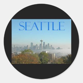 Seattle, Washington Downtown Skyline View Classic Round Sticker