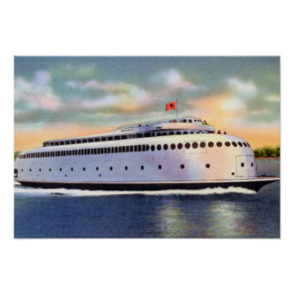 Seattle Washington Ferry to Bremerton Puget Sound Poster