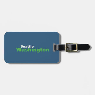 Seattle, Washington Luggage Tag w/ leather strap