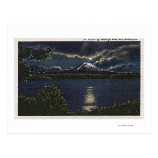 Seattle, Washington - Moonlit View of Mt. Postcard