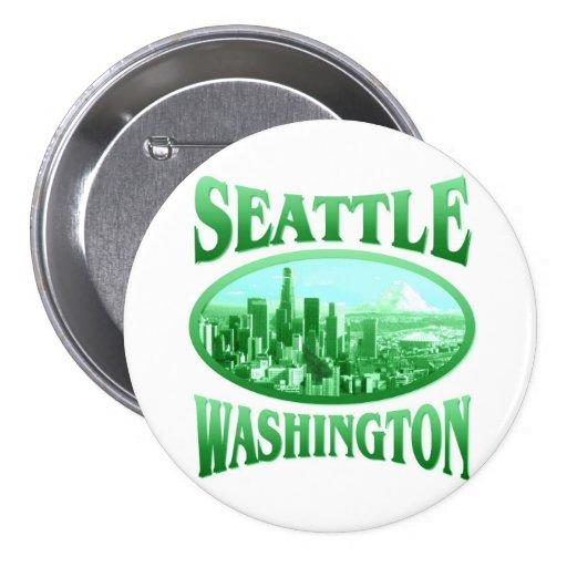 Seattle Washington Pin Redondo De 3 Pulgadas