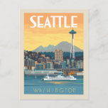 """Seattle, Washington Postcard<br><div class=""""desc"""">Anderson Design Group is an award-winning illustration and design firm in Nashville,  Tennessee. Founder Joel Anderson directs a team of talented artists to create original poster art that looks like classic vintage advertising prints from the 1920s to the 1960s.</div>"""