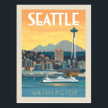 "Seattle, Washington Postcard<br><div class=""desc"">Anderson Design Group is an award-winning illustration and design firm in Nashville,  Tennessee. Founder Joel Anderson directs a team of talented artists to create original poster art that looks like classic vintage advertising prints from the 1920s to the 1960s.</div>"