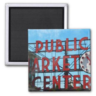 Seattle Washington Public Market Gifts 2 Inch Square Magnet