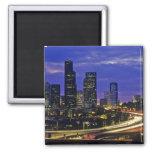 Seattle, Washington skyline at night 2 Inch Square Magnet