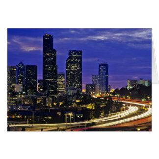 Seattle Washington skyline at night Greeting Card