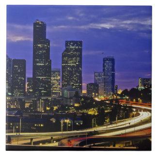 Seattle, Washington skyline at night Ceramic Tile