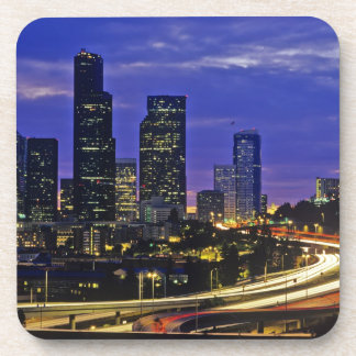 Seattle, Washington skyline at night Drink Coasters