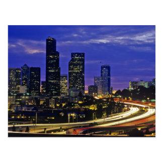 Seattle Washington skyline at night Post Card