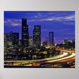 Seattle, Washington skyline at night Posters