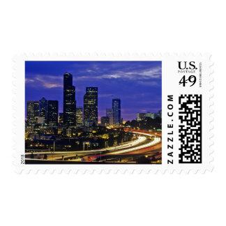 Seattle, Washington skyline at night Stamp