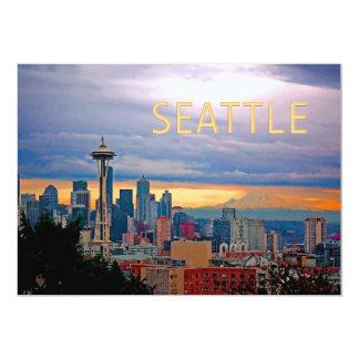 Seattle Washington Skyline at Sunset TEXT SEATTLE Card