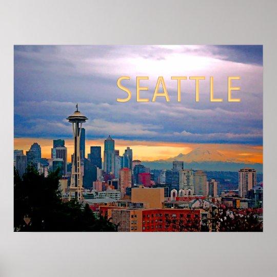 Seattle Washington Skyline At Sunset Text Seattle Poster