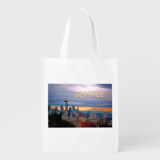 Seattle Washington Skyline at Sunset TEXT SEATTLE Reusable Grocery Bag