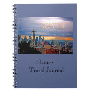 Seattle Washington Skyline at Sunset TEXT SEATTLE Spiral Notebook