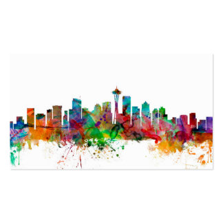 Seattle Washington Skyline Double-Sided Standard Business Cards (Pack Of 100)