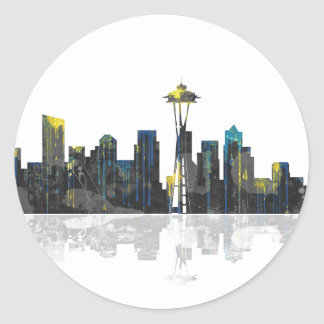 Seattle Washington Skyline Classic Round Sticker