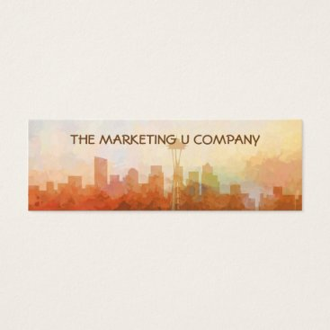 USA Themed Seattle, Washington Skyline IN CLOUDS Mini Business Card