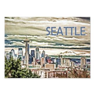 Seattle Washington Skyline in Fog and Rain Card