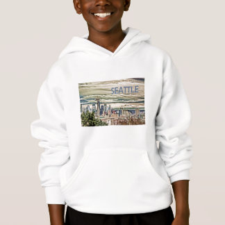 Seattle Washington Skyline in Fog and Rain Hoodie
