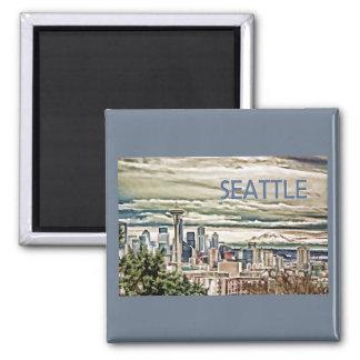 Seattle Washington Skyline in Fog and Rain Magnet