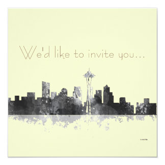 SEATTLE WASHINGTON SKYLINE -Invitation Card