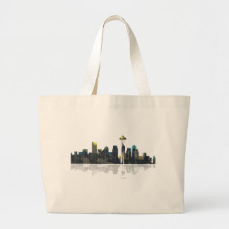 Seattle Washington Skyline Large Tote Bag