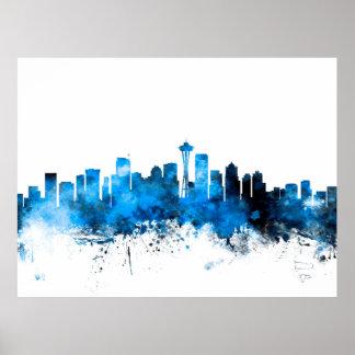Seattle Washington Skyline Poster